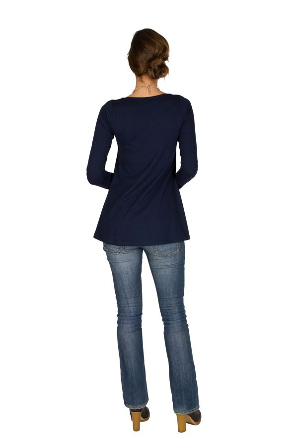 T-Shirt à manches longues Bleu féminin à col rond Abbie