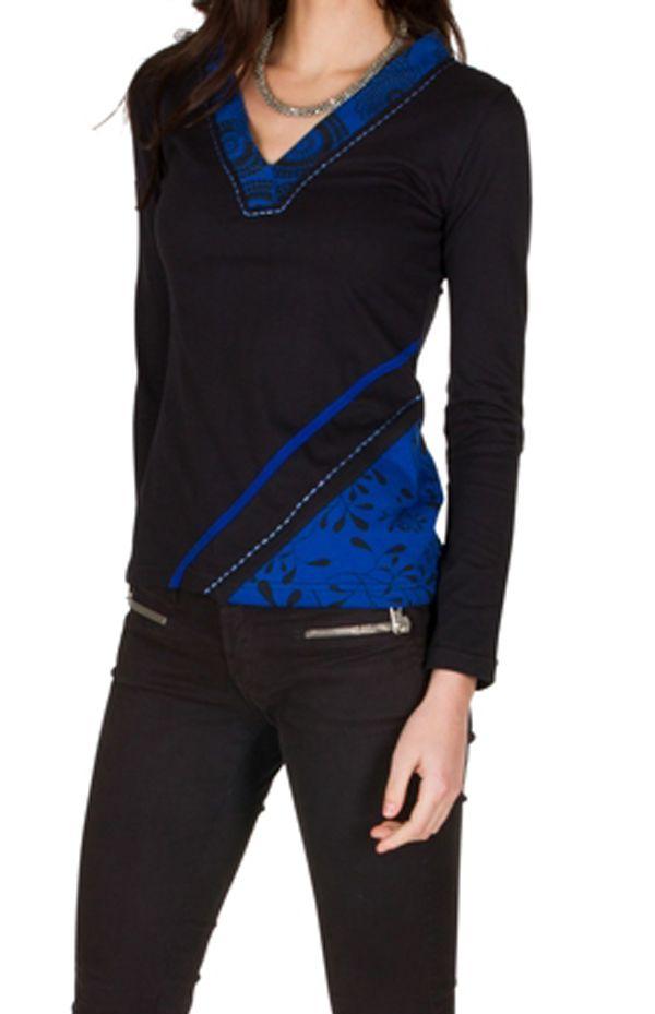 T-Shirt à manches longues Bleu imprimé avec col en V Mahal 301455