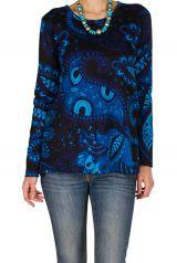 T-Shirt à manches longues Bleu imprimé et à col rond Anicet 299531