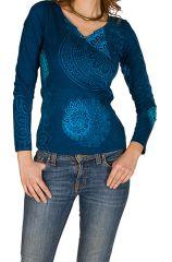 T-Shirt à manches longues Bleu imprimé et féminin avec col en V Judith 299369