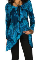 T-Shirt à manches longues Bleu long avec poches et noeud original Gwenn 299343
