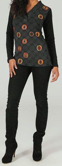 T-Shirt à manches longues Col V Chic et Ethnique Eydan 274248