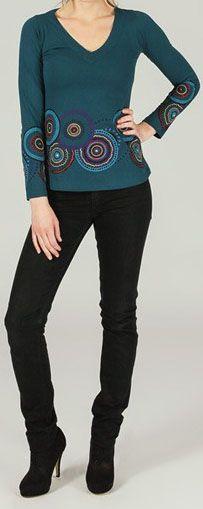 T-Shirt à manches longues ethnique et original Bleu Ladislas 273866