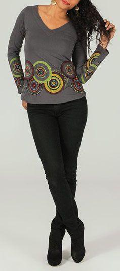 T-Shirt à manches longues ethnique et original Gris Ladislas 273867