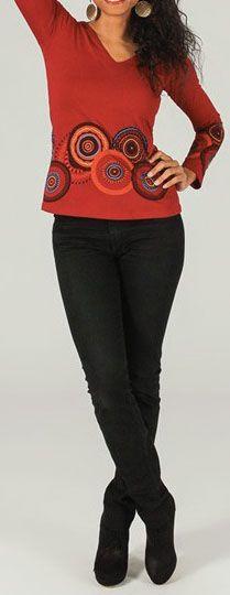 T-Shirt à manches longues ethnique et original Rouge Ladislas 273865