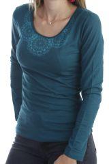 T-shirt à manches longues féminin imprimés ton sur ton émeraude Quia 303249