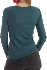 T-shirt à manches longues féminin imprimés ton sur ton émeraude Quia 303251