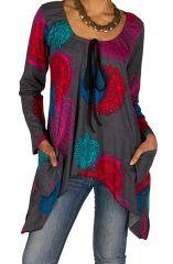 T-Shirt à manches longues Gris coloré avec poches et noeud Ninon 299335
