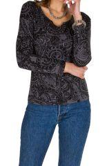 T-Shirt à manches longues Gris imprimé et tendance Amana 299461