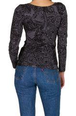 T-Shirt à manches longues Gris imprimé et tendance Amana 299463