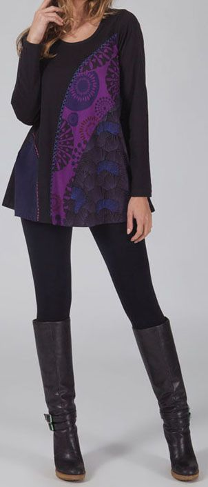 T-shirt à manches longues Imprimé et Original Damon Noir et Violet 274570