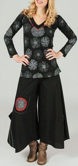 T-Shirt à manches longues imprimé et original Noir/Blanc Isaure 273901