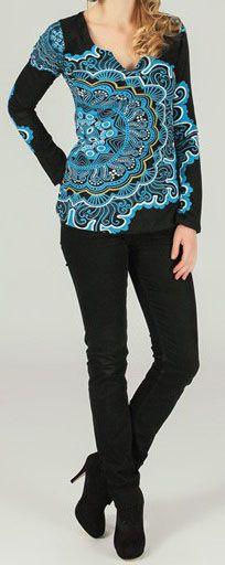 T-Shirt à manches longues imprimé et original Noir/Bleu Gaia 273860