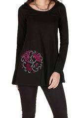 T-Shirt à manches longues Noir à col rond et avec imprimés Hawa 299262