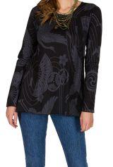 T-Shirt à manches longues Noir à col rond et motifs tendances Thaïs 299552