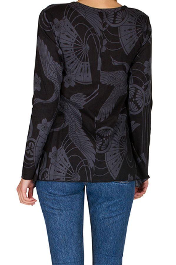 T-Shirt à manches longues Noir à col rond et motifs tendances Thaïs 299554