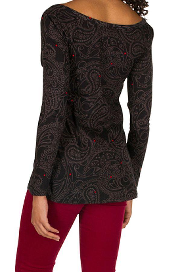 T-Shirt à manches longues Noir asymétrique et original Wilma 299592