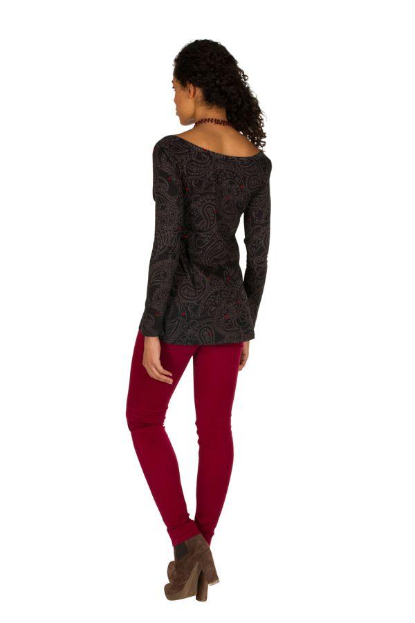 T-Shirt à manches longues Noir asymétrique et original Wilma