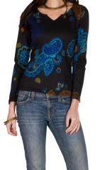T-Shirt à manches longues Noir avec col en V et motifs originaux Candice 299453