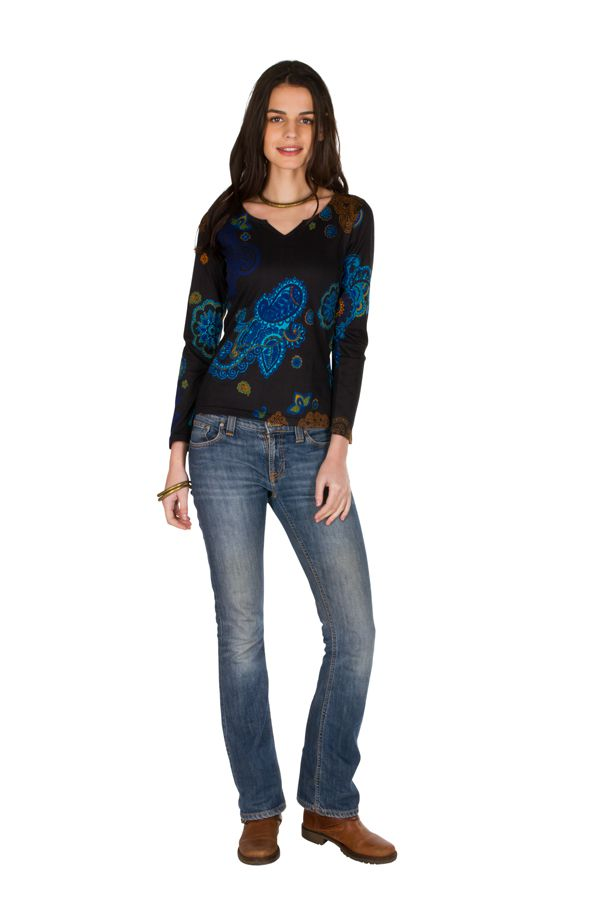 T-Shirt à manches longues Noir avec col en V et motifs originaux Candice 299454