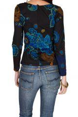 T-Shirt à manches longues Noir avec col en V et motifs originaux Candice 299455