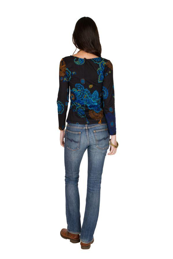T-Shirt à manches longues Noir avec col en V et motifs originaux Candice 299456