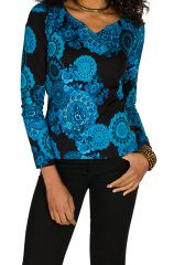T-Shirt à manches longues Noir avec imprimés bleus et charmant col en V Octavia 299381