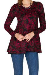 T-Shirt à manches longues Noir et Rose à col rond et imprimés Lino 299523