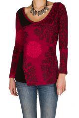 T-Shirt à manches longues Rose asymétrique et imprimé Lena 299572