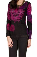 T-Shirt à manches longues Rose féminin avec motifs colorés Cindy 299421