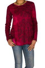 T-Shirt à manches longues Rose féminin et imprimé Lesia 299513