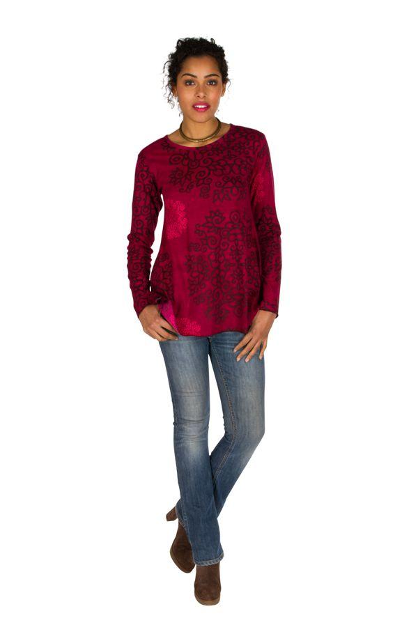 T-Shirt à manches longues Rose féminin et imprimé Lesia 299514