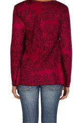 T-Shirt à manches longues Rose féminin et imprimé Lesia 299515