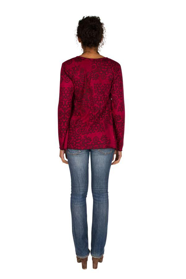 T-Shirt à manches longues Rose féminin et imprimé Lesia 299516