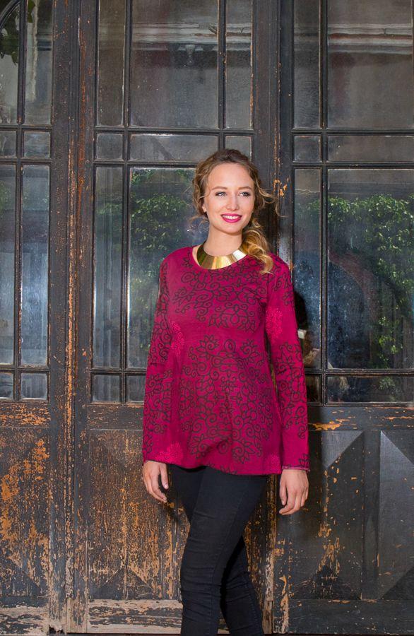 T-Shirt à manches longues Rose féminin et imprimé Lesia 299517