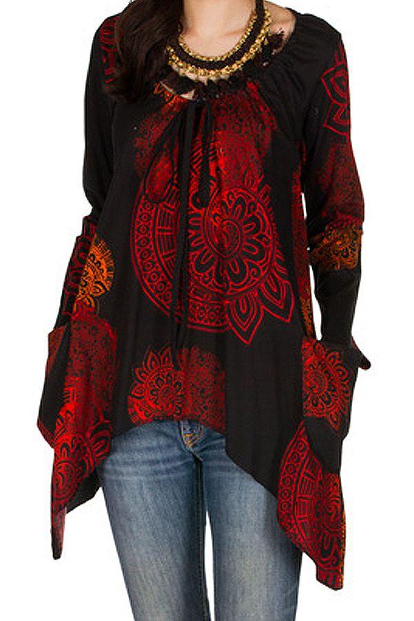 T-Shirt à manches longues Rouge ample et évasé Angela 299282
