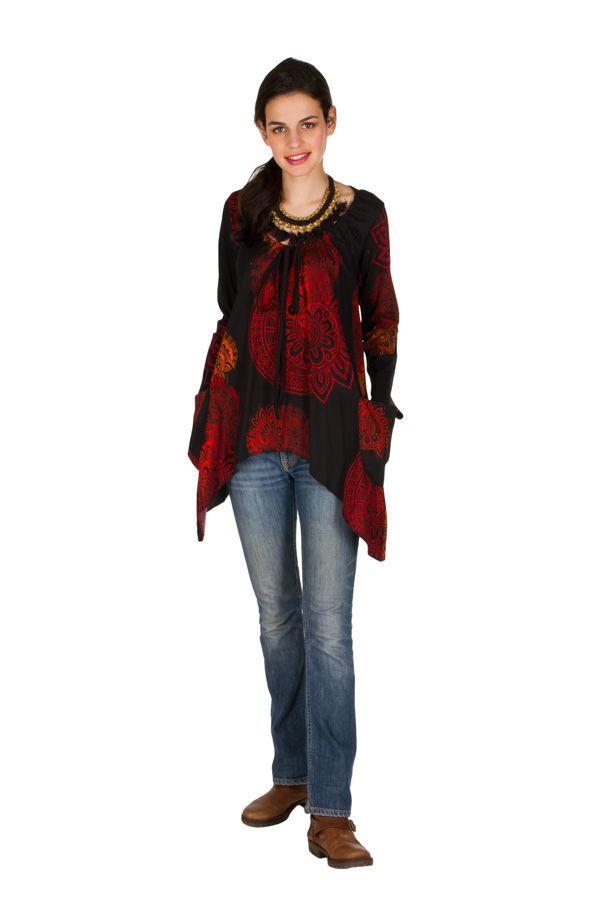 T-Shirt à manches longues Rouge ample et évasé Angela 299283