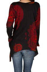 T-Shirt à manches longues Rouge ample et évasé Angela 299284