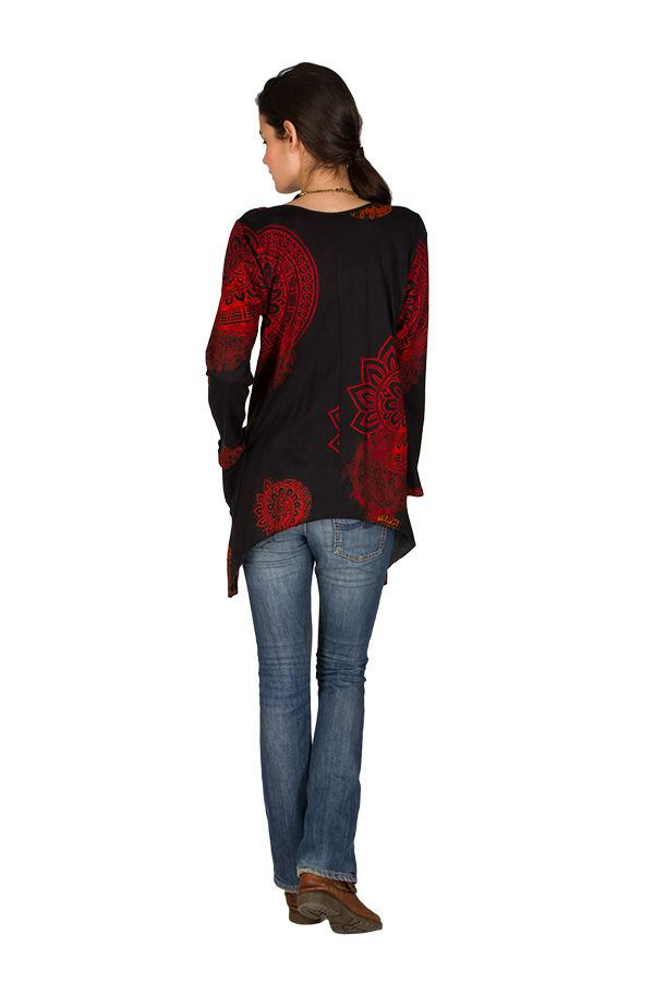 T-Shirt à manches longues Rouge ample et évasé Angela 299285