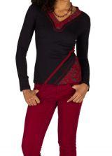 T-Shirt à manches longues Rouge féminin et fantaisie avec col en V Balbir 301463