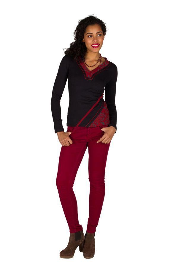 T-Shirt à manches longues Rouge féminin et fantaisie avec col en V Balbir 301464