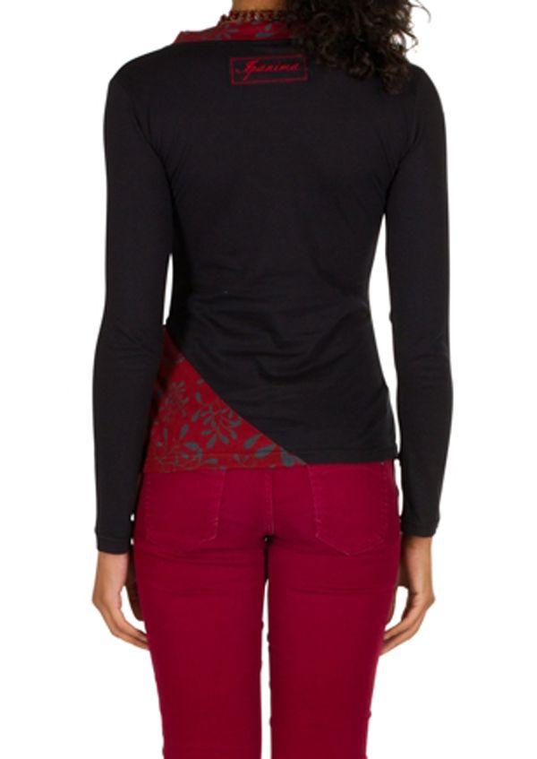 T-Shirt à manches longues Rouge féminin et fantaisie avec col en V Balbir 301465