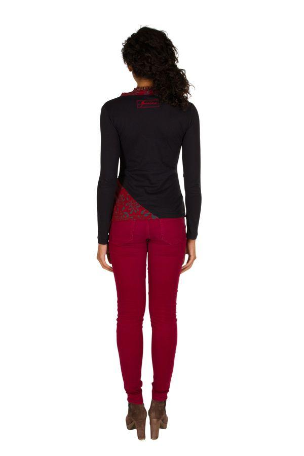 T-Shirt à manches longues Rouge féminin et fantaisie avec col en V Balbir 301466