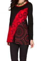 T-Shirt à manches longues Rouge féminin imprimés rosaces et col rond Mittal 301475