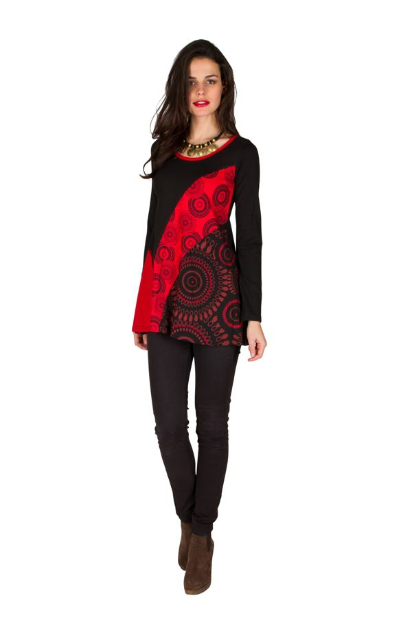 T-Shirt à manches longues Rouge féminin imprimés rosaces et col rond Mittal 301476