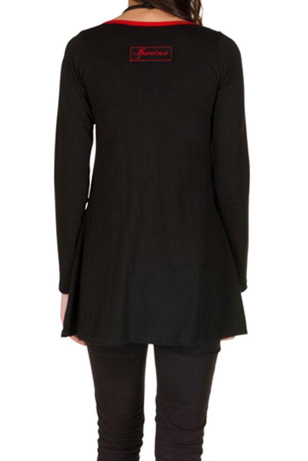 T-Shirt à manches longues Rouge féminin imprimés rosaces et col rond Mittal 301477