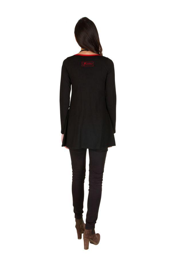 T-Shirt à manches longues Rouge féminin imprimés rosaces et col rond Mittal 301478