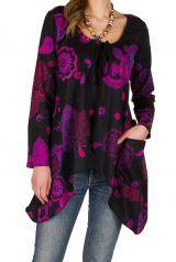 T-Shirt à manches longues Violet coloré et évasé Aïleen 299294
