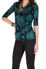 T-Shirt à manches trois quarts Bleu imprimé ethnique et tendance Danuta 299479