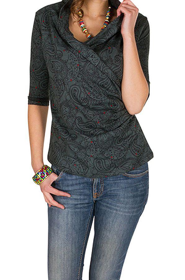 T-Shirt à manches trois quarts Gris original avec col croisé Loïs 299497
